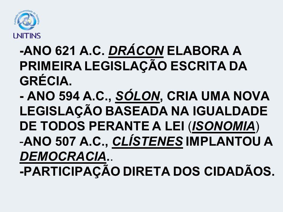 -ANO 621 A. C. DRÁCON ELABORA A PRIMEIRA LEGISLAÇÃO ESCRITA DA GRÉCIA