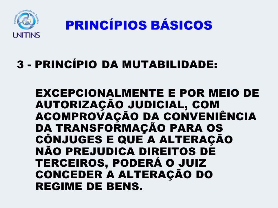 PRINCÍPIOS BÁSICOS 3 - PRINCÍPIO DA MUTABILIDADE: