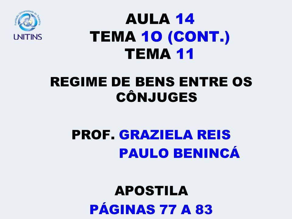 REGIME DE BENS ENTRE OS CÔNJUGES