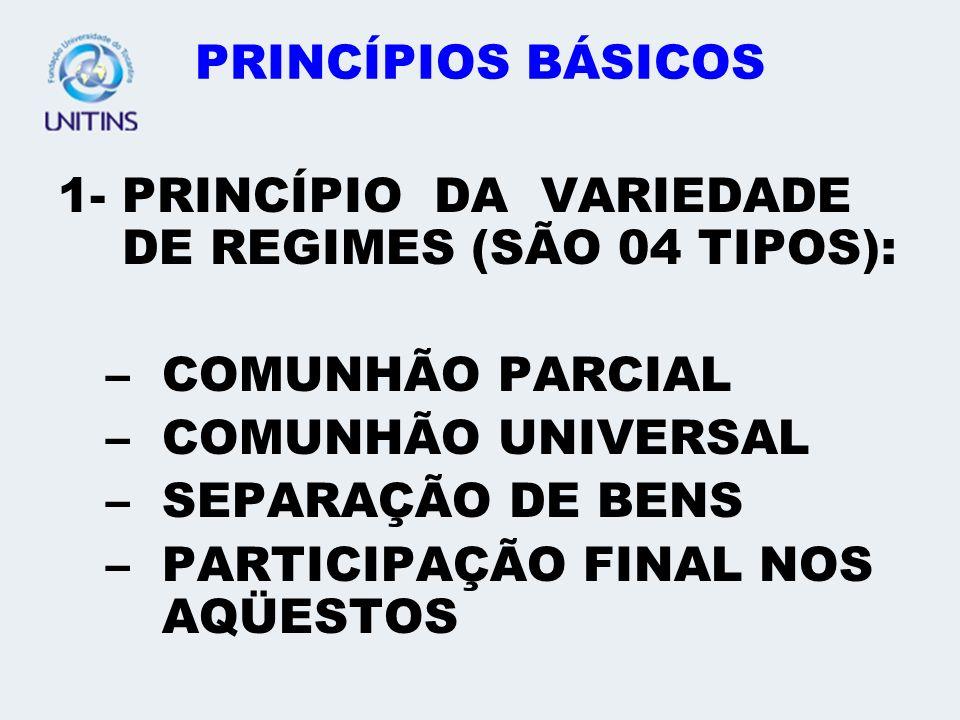 PRINCÍPIOS BÁSICOS 1- PRINCÍPIO DA VARIEDADE DE REGIMES (SÃO 04 TIPOS): COMUNHÃO PARCIAL. COMUNHÃO UNIVERSAL.