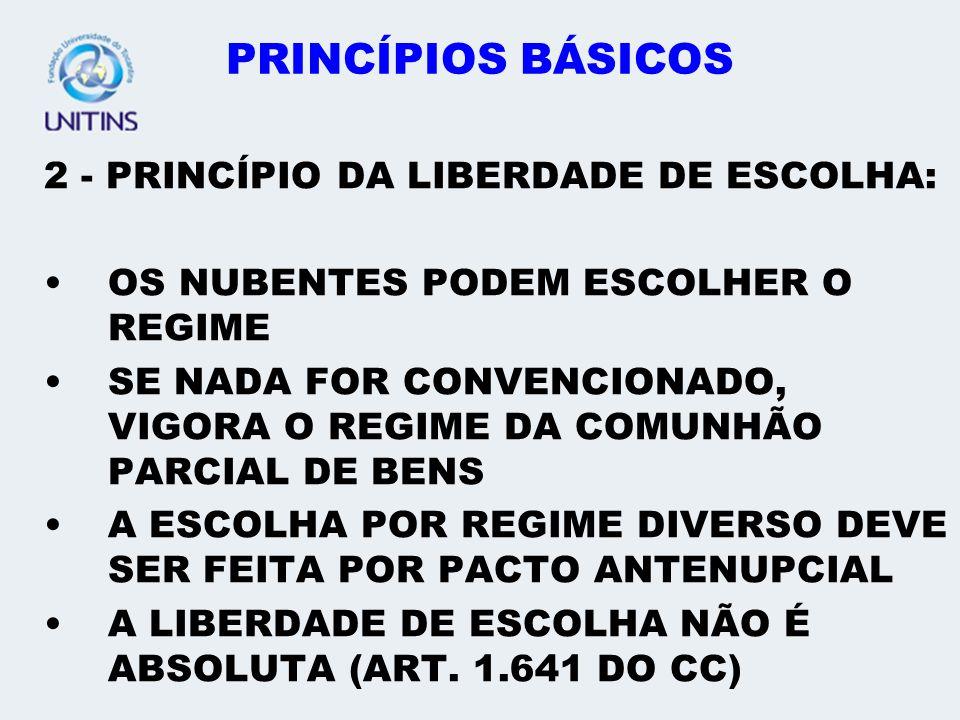 PRINCÍPIOS BÁSICOS 2 - PRINCÍPIO DA LIBERDADE DE ESCOLHA: