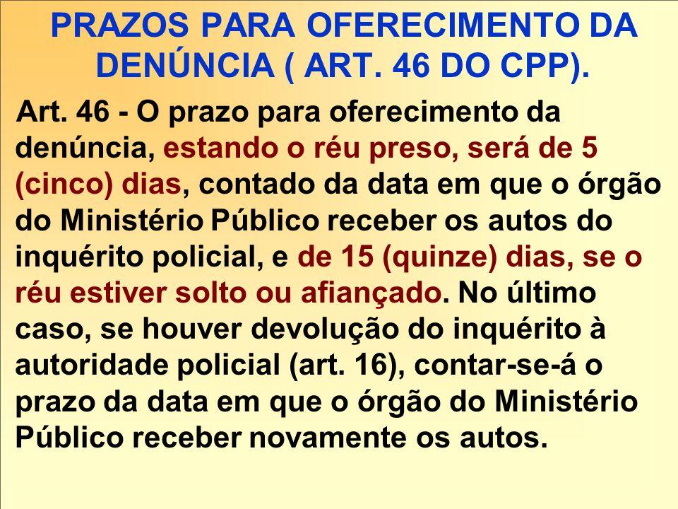 PRAZOS PARA OFERECIMENTO DA DENÚNCIA ( ART. 46 DO CPP).