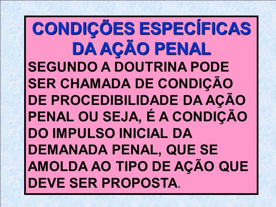 CONDIÇÕES ESPECÍFICAS DA AÇÃO PENAL