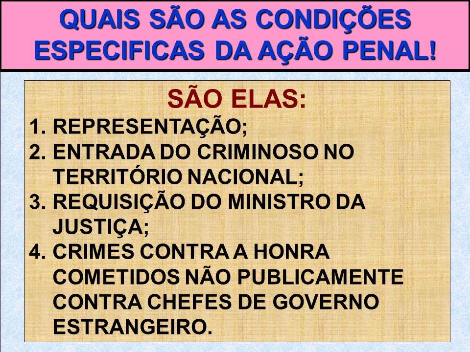 QUAIS SÃO AS CONDIÇÕES ESPECIFICAS DA AÇÃO PENAL!