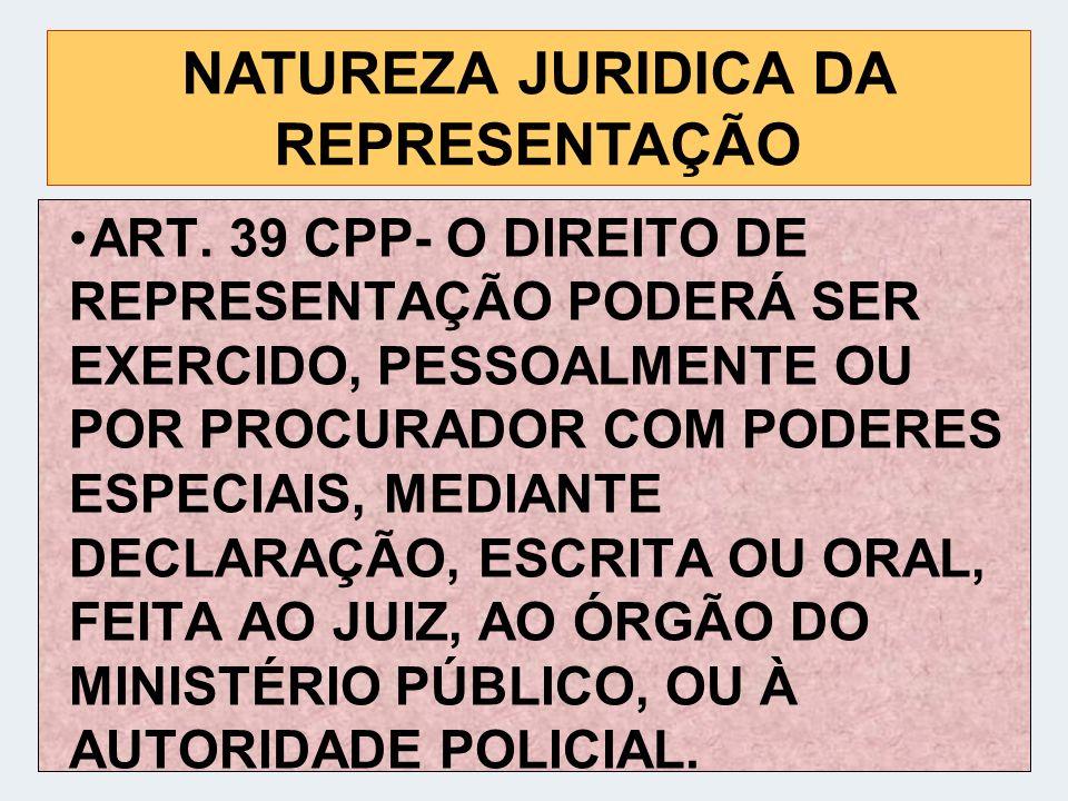NATUREZA JURIDICA DA REPRESENTAÇÃO
