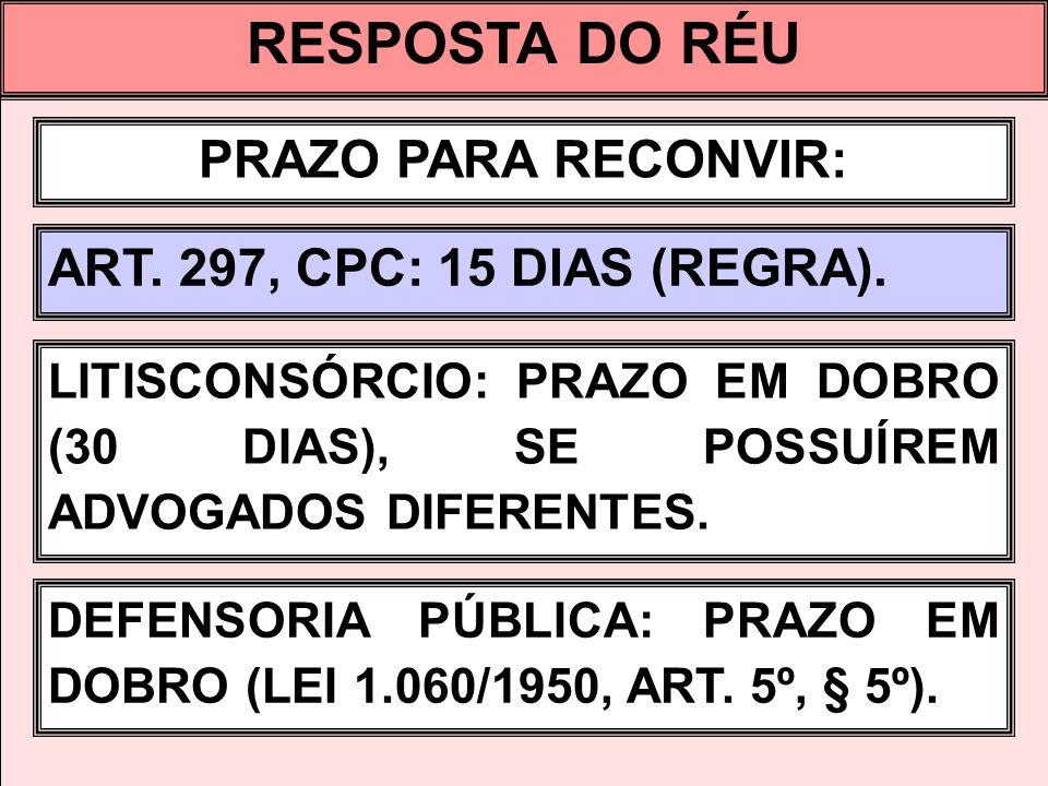 RESPOSTA DO RÉU PRAZO PARA RECONVIR: ART. 297, CPC: 15 DIAS (REGRA).