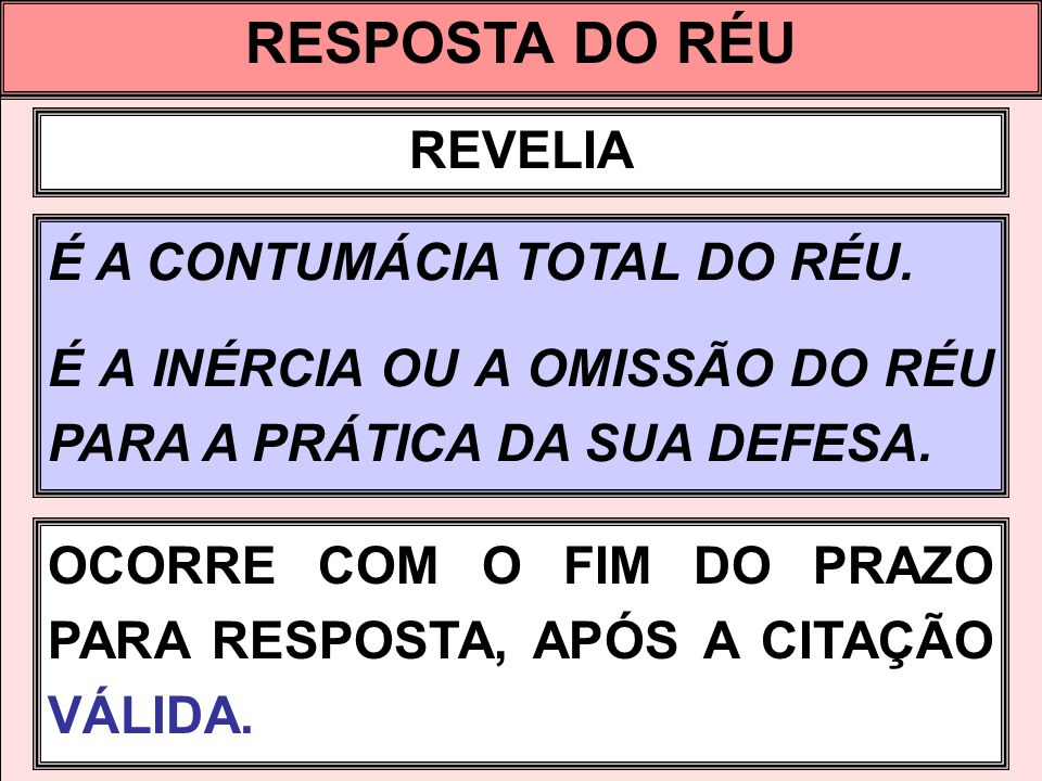 RESPOSTA DO RÉU REVELIA É A CONTUMÁCIA TOTAL DO RÉU.