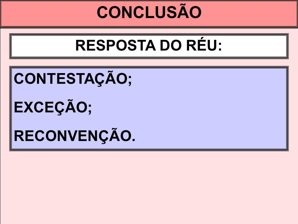 CONCLUSÃO RESPOSTA DO RÉU: CONTESTAÇÃO; EXCEÇÃO; RECONVENÇÃO.