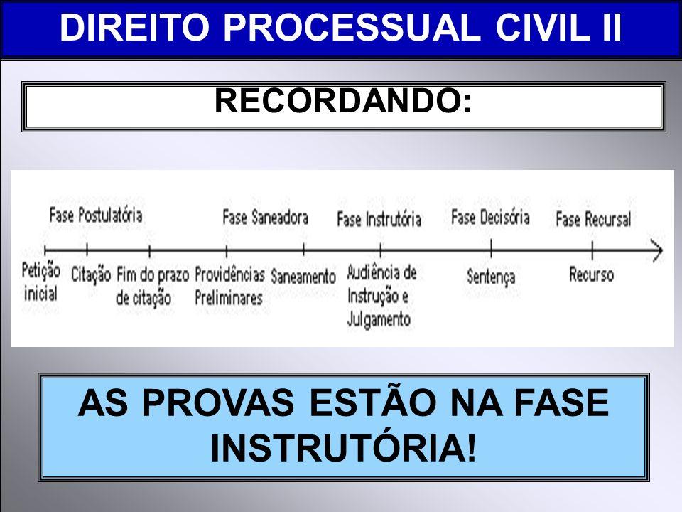 DIREITO PROCESSUAL CIVIL II AS PROVAS ESTÃO NA FASE INSTRUTÓRIA!