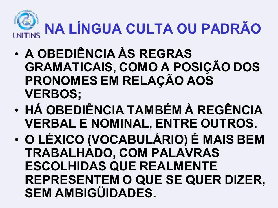 NA LÍNGUA CULTA OU PADRÃO