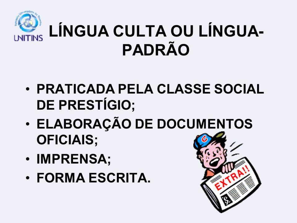 LÍNGUA CULTA OU LÍNGUA-PADRÃO