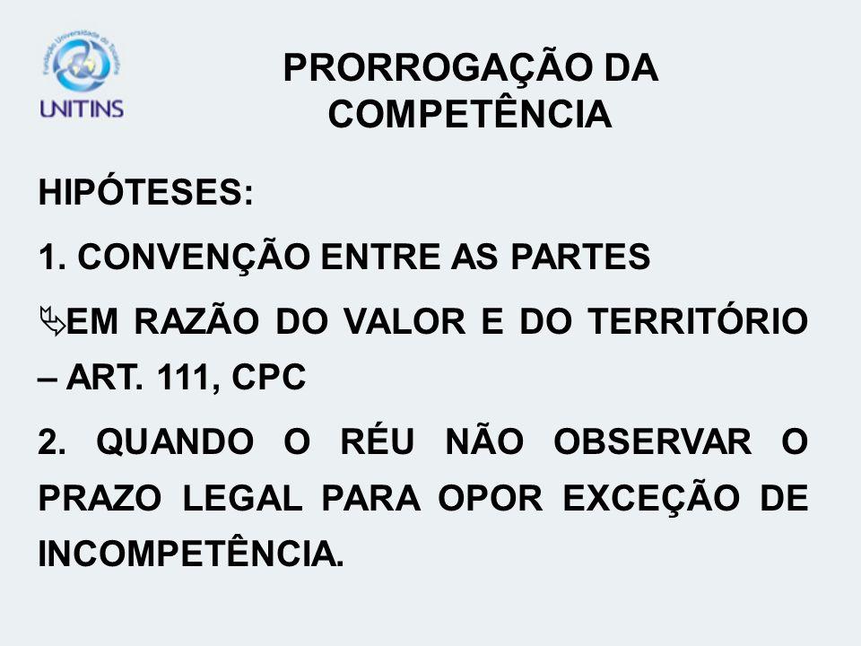 PRORROGAÇÃO DA COMPETÊNCIA