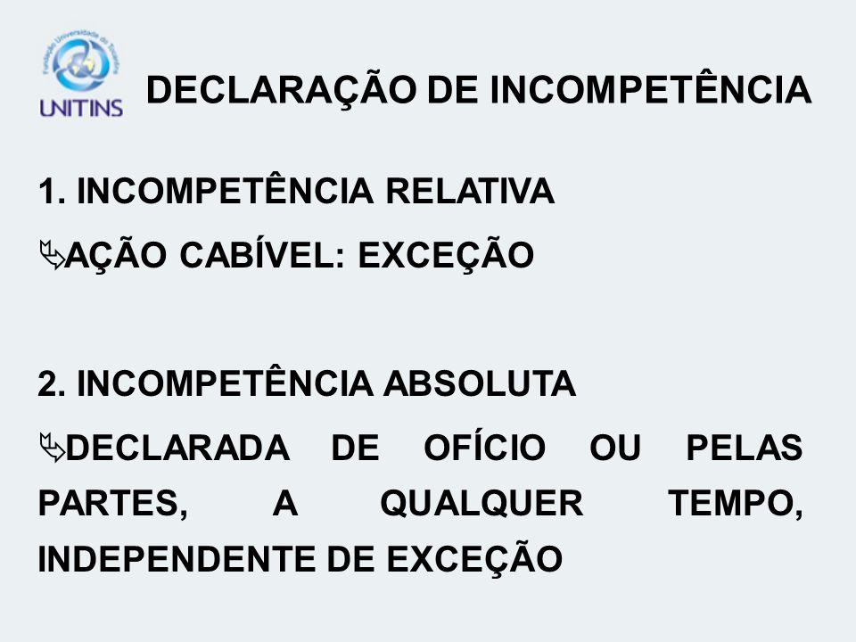 DECLARAÇÃO DE INCOMPETÊNCIA