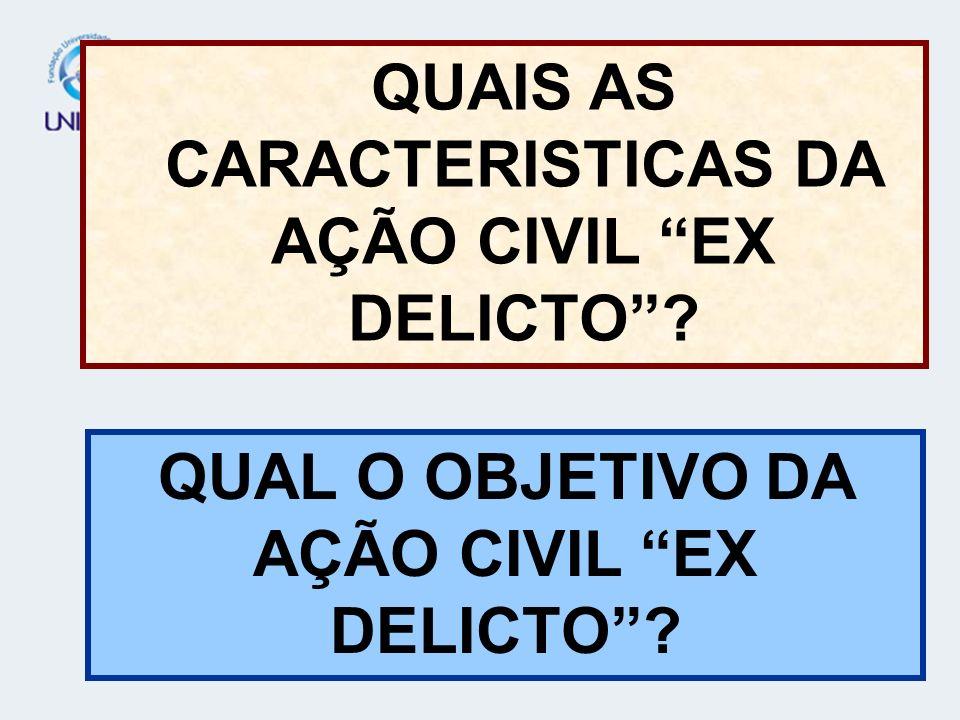 QUAIS AS CARACTERISTICAS DA AÇÃO CIVIL EX DELICTO