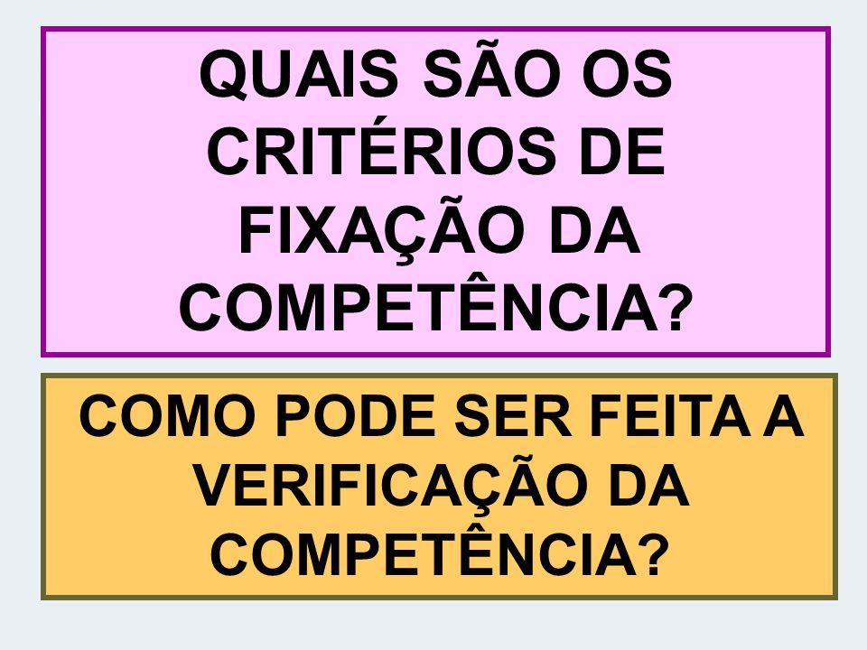 QUAIS SÃO OS CRITÉRIOS DE FIXAÇÃO DA COMPETÊNCIA