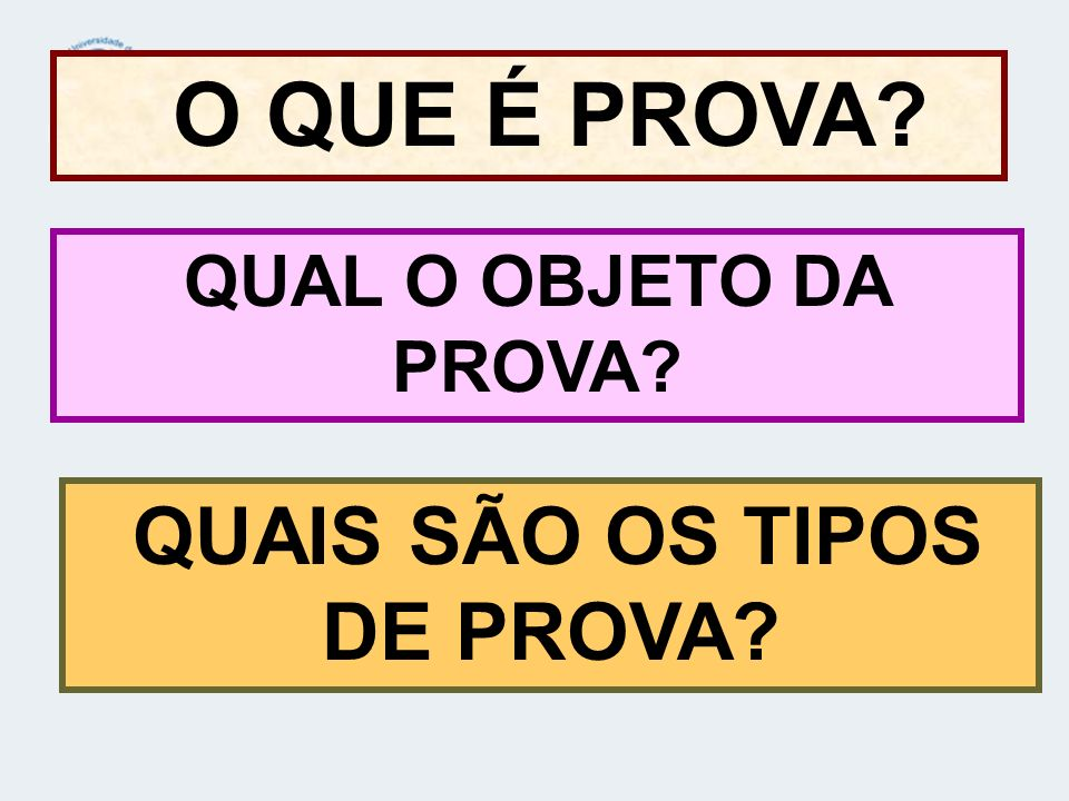 QUAIS SÃO OS TIPOS DE PROVA