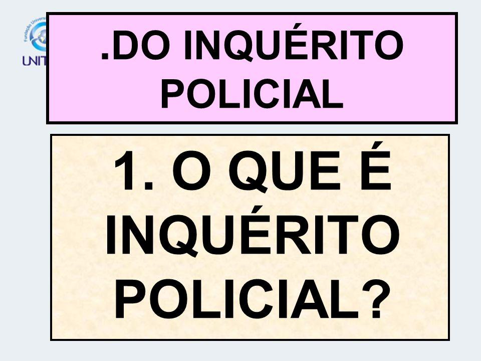 1. O QUE É INQUÉRITO POLICIAL