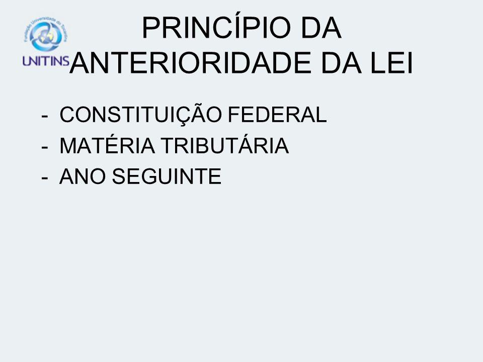 PRINCÍPIO DA ANTERIORIDADE DA LEI