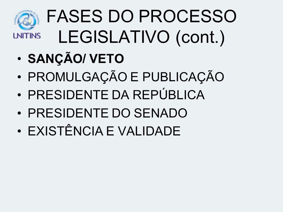FASES DO PROCESSO LEGISLATIVO (cont.)