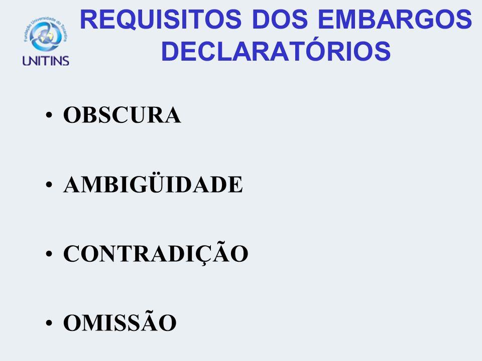 REQUISITOS DOS EMBARGOS DECLARATÓRIOS