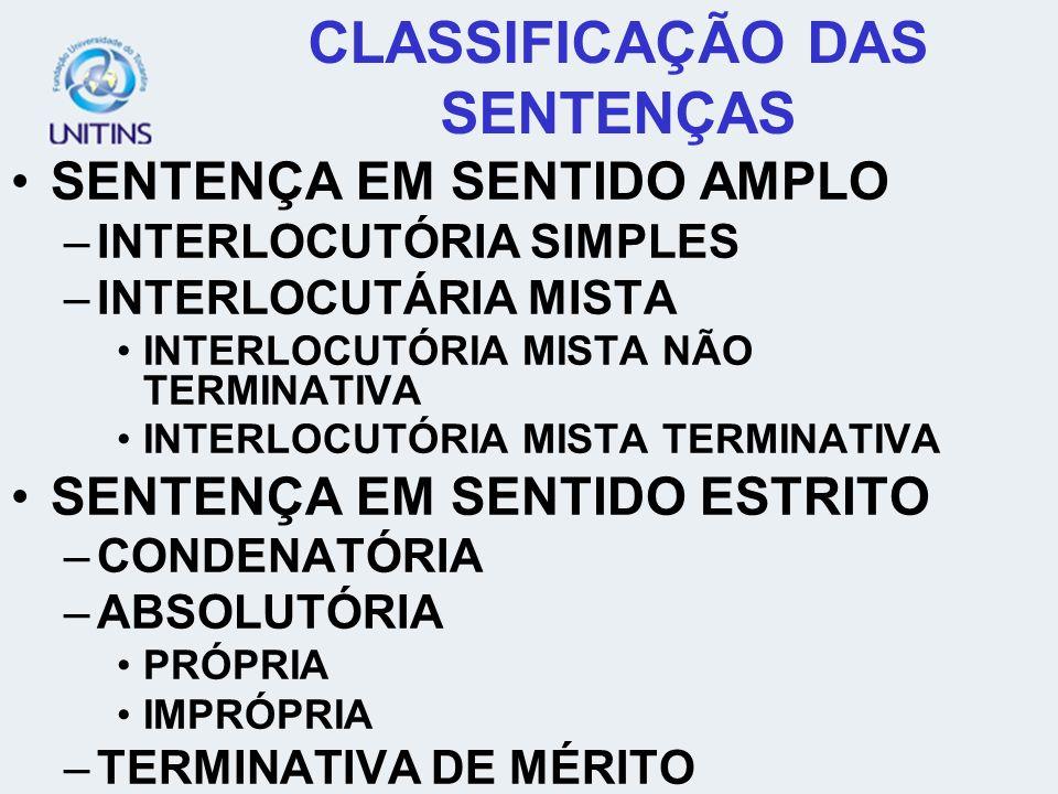 CLASSIFICAÇÃO DAS SENTENÇAS