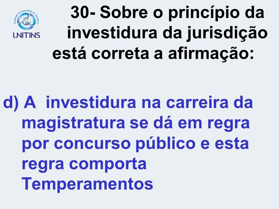 30- Sobre o princípio da. investidura da jurisdição
