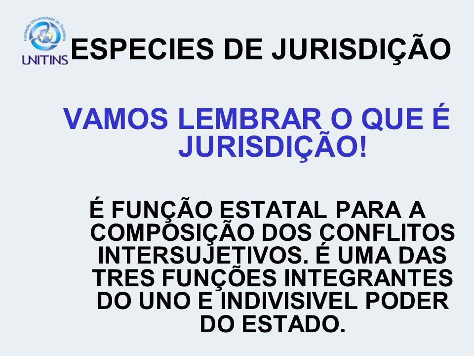 ESPECIES DE JURISDIÇÃO VAMOS LEMBRAR O QUE É JURISDIÇÃO!