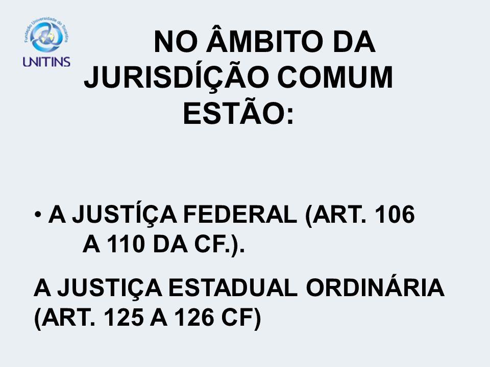NO ÂMBITO DA JURISDÍÇÃO COMUM ESTÃO: