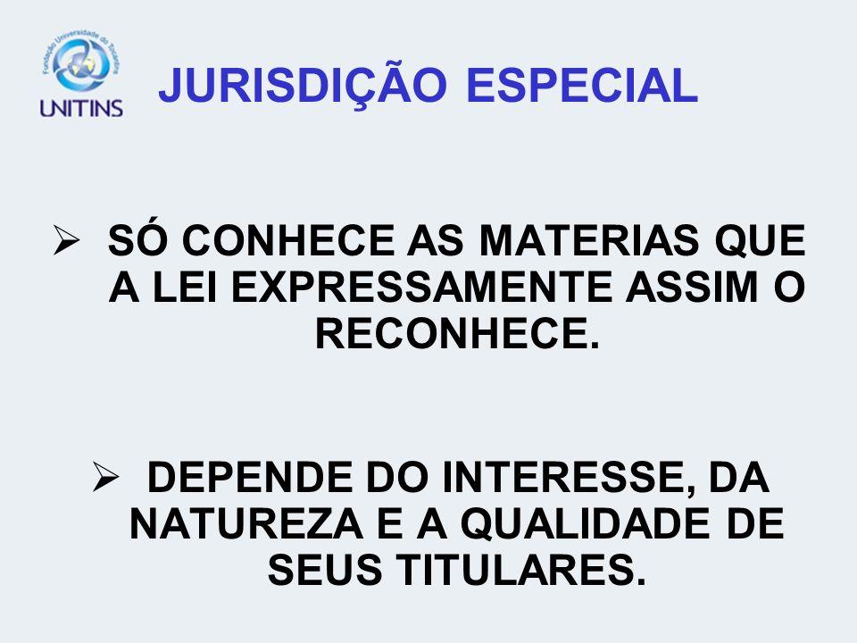 JURISDIÇÃO ESPECIALSÓ CONHECE AS MATERIAS QUE A LEI EXPRESSAMENTE ASSIM O RECONHECE.