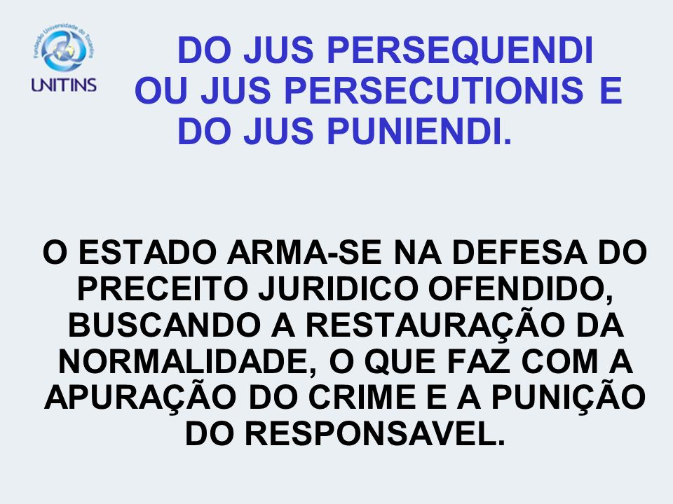DO JUS PERSEQUENDI OU JUS PERSECUTIONIS E DO JUS PUNIENDI.
