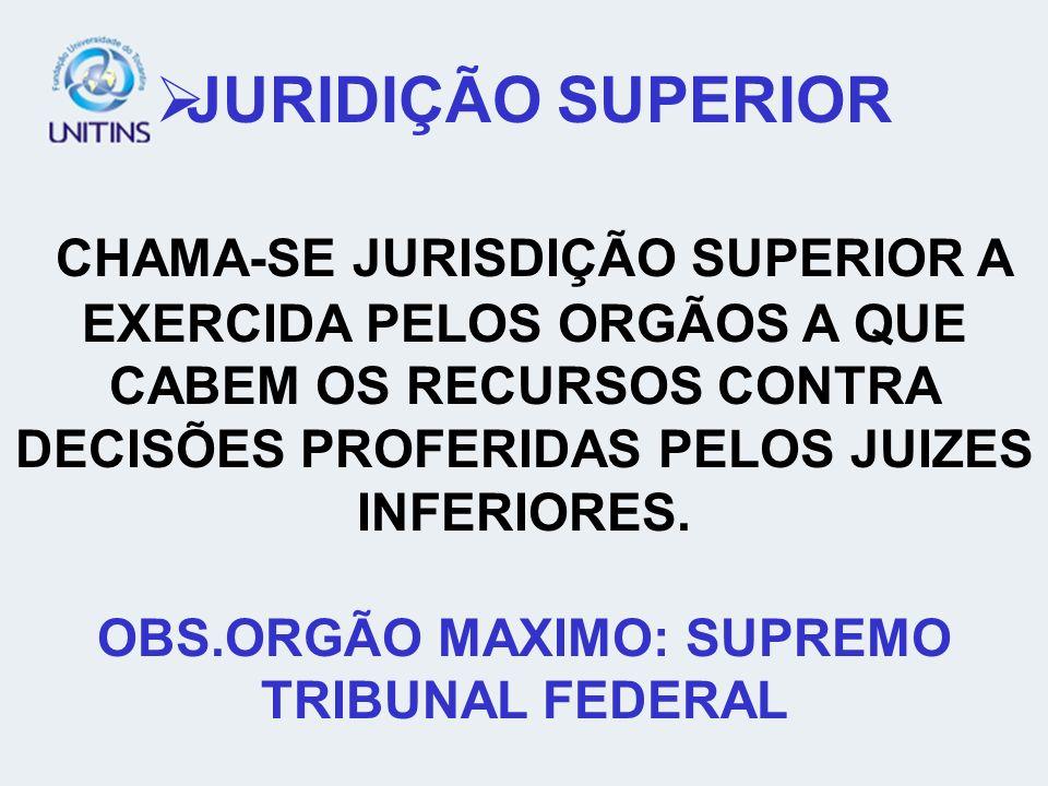 OBS.ORGÃO MAXIMO: SUPREMO TRIBUNAL FEDERAL