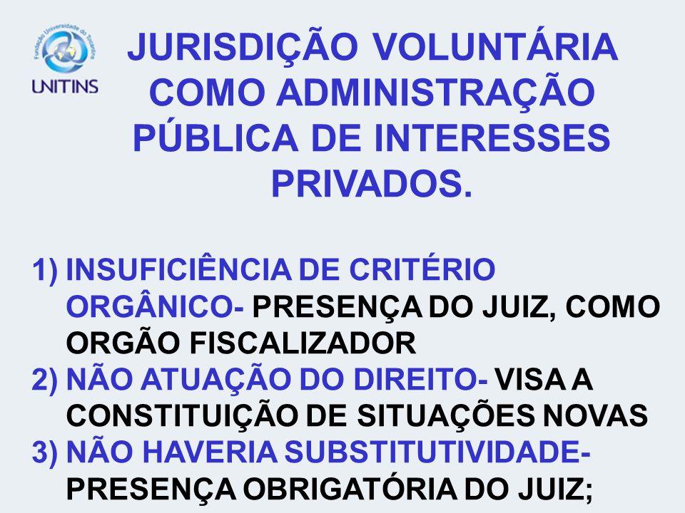 JURISDIÇÃO VOLUNTÁRIA COMO ADMINISTRAÇÃO PÚBLICA DE INTERESSES PRIVADOS.