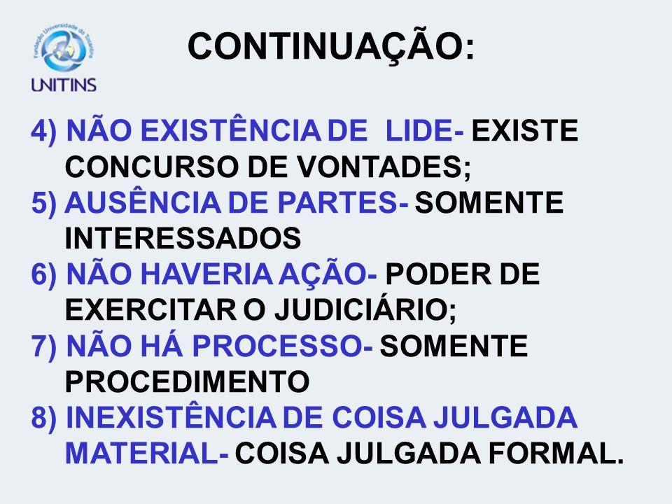 CONTINUAÇÃO: 4) NÃO EXISTÊNCIA DE LIDE- EXISTE CONCURSO DE VONTADES;