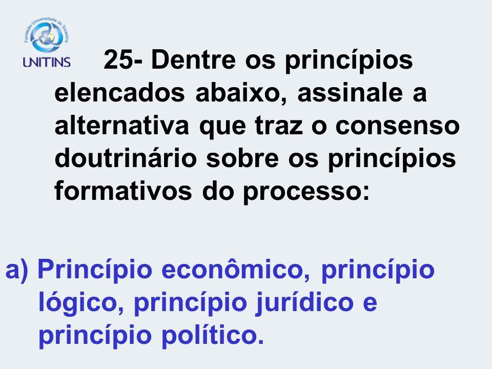 25- Dentre os princípios. elencados abaixo, assinale a