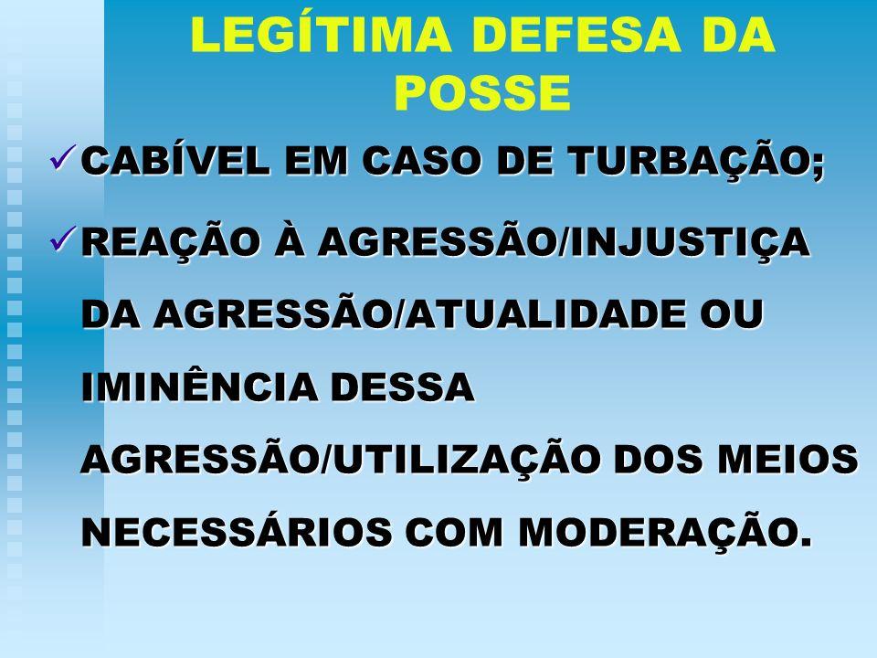 LEGÍTIMA DEFESA DA POSSE