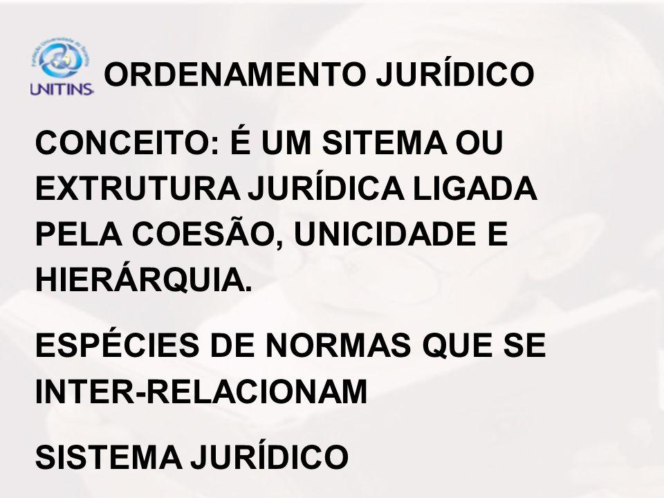 ORDENAMENTO JURÍDICO CONCEITO: É UM SITEMA OU EXTRUTURA JURÍDICA LIGADA PELA COESÃO, UNICIDADE E HIERÁRQUIA.