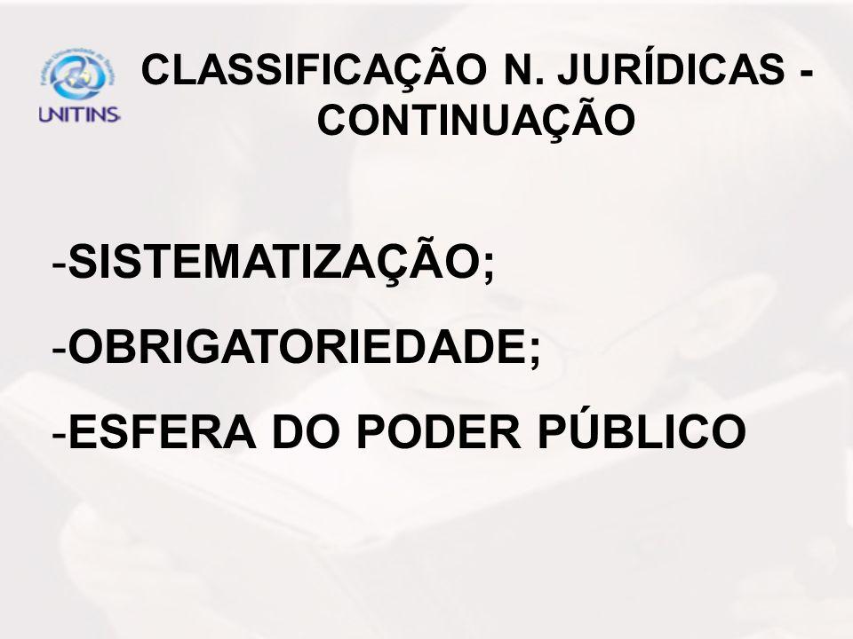 CLASSIFICAÇÃO N. JURÍDICAS - CONTINUAÇÃO