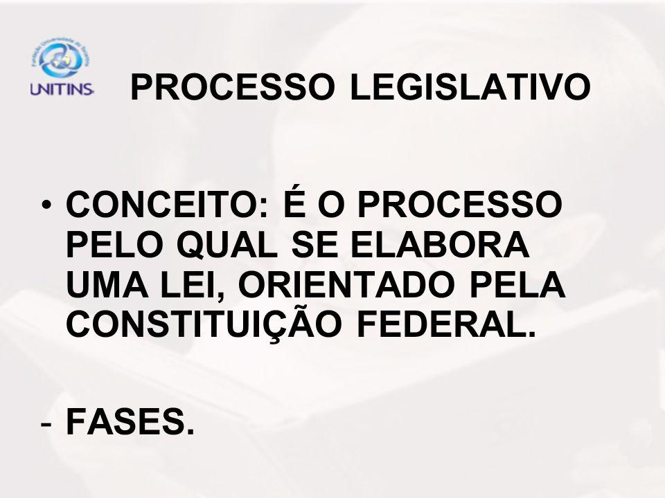 PROCESSO LEGISLATIVO CONCEITO: É O PROCESSO PELO QUAL SE ELABORA UMA LEI, ORIENTADO PELA CONSTITUIÇÃO FEDERAL.