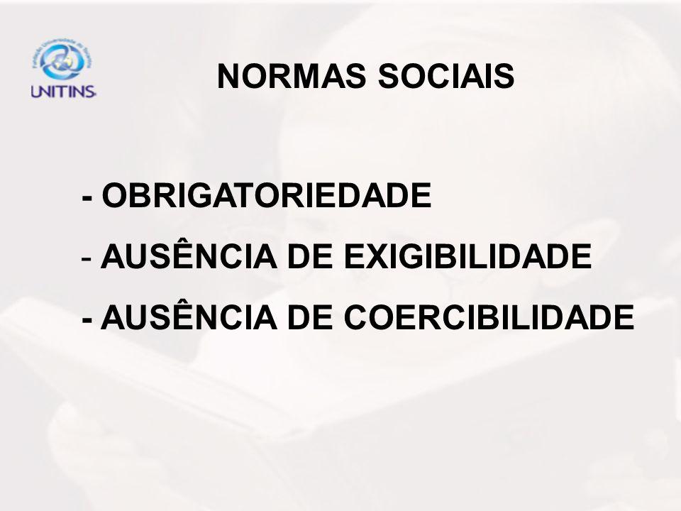 NORMAS SOCIAIS - OBRIGATORIEDADE AUSÊNCIA DE EXIGIBILIDADE - AUSÊNCIA DE COERCIBILIDADE