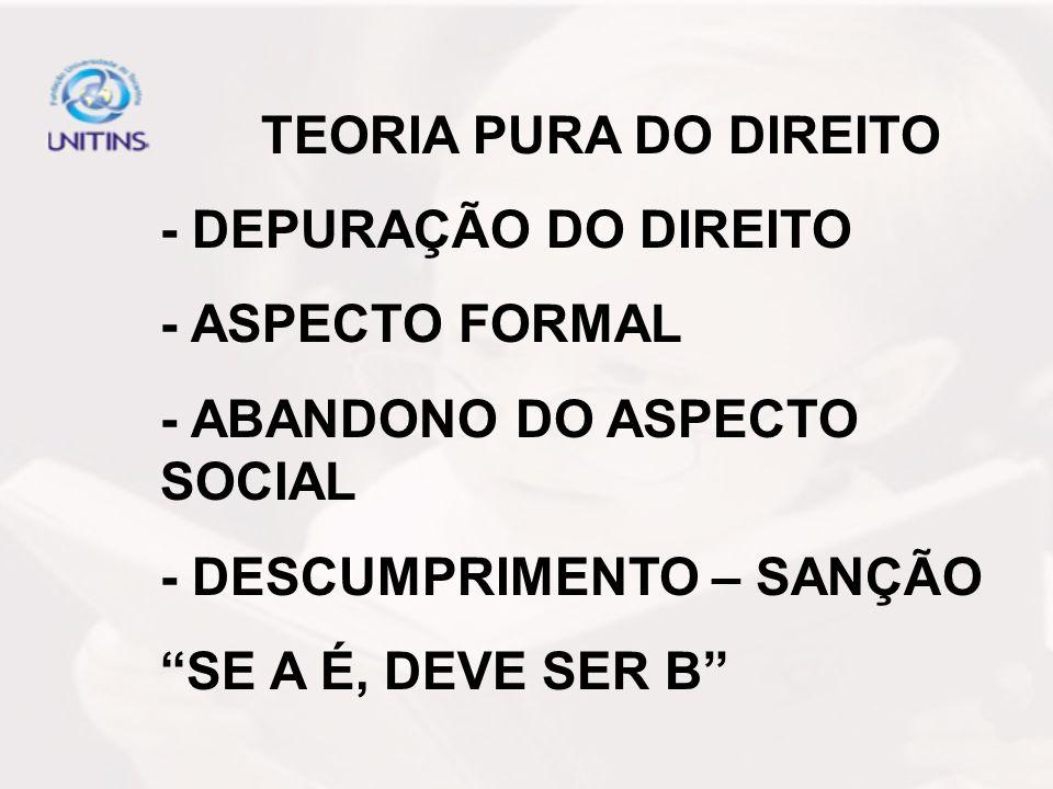TEORIA PURA DO DIREITO - DEPURAÇÃO DO DIREITO. - ASPECTO FORMAL. - ABANDONO DO ASPECTO SOCIAL. - DESCUMPRIMENTO – SANÇÃO.