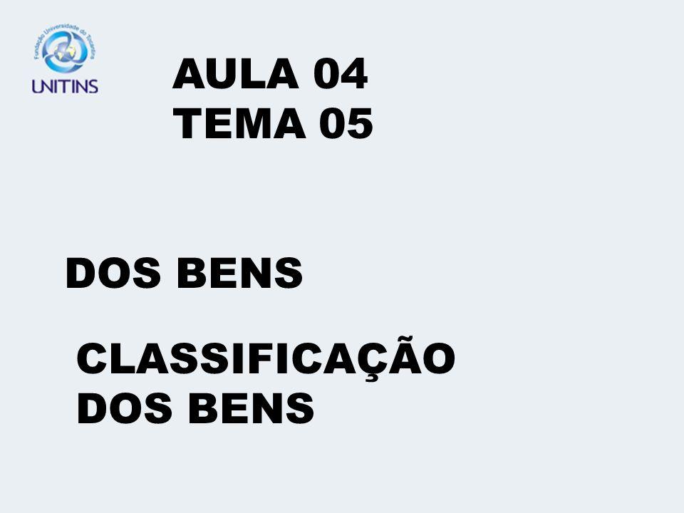AULA 04 TEMA 05 DOS BENS CLASSIFICAÇÃO DOS BENS