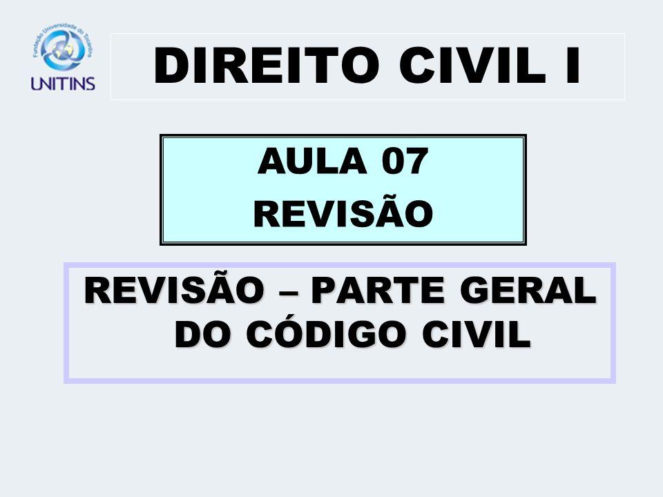 REVISÃO – PARTE GERAL DO CÓDIGO CIVIL