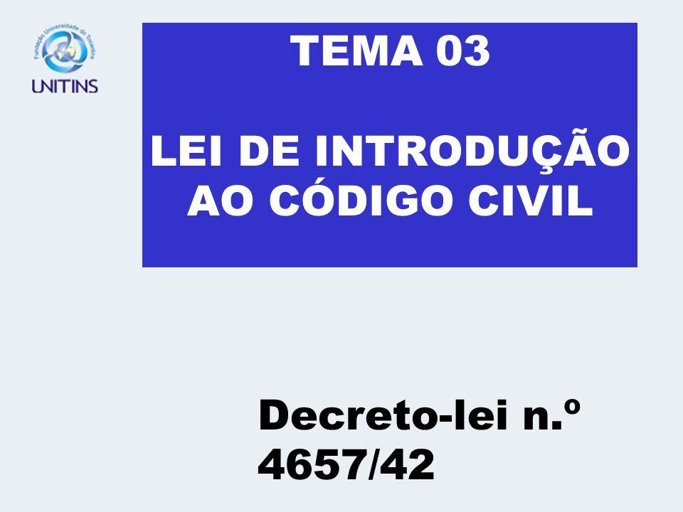 TEMA 03 LEI DE INTRODUÇÃO AO CÓDIGO CIVIL