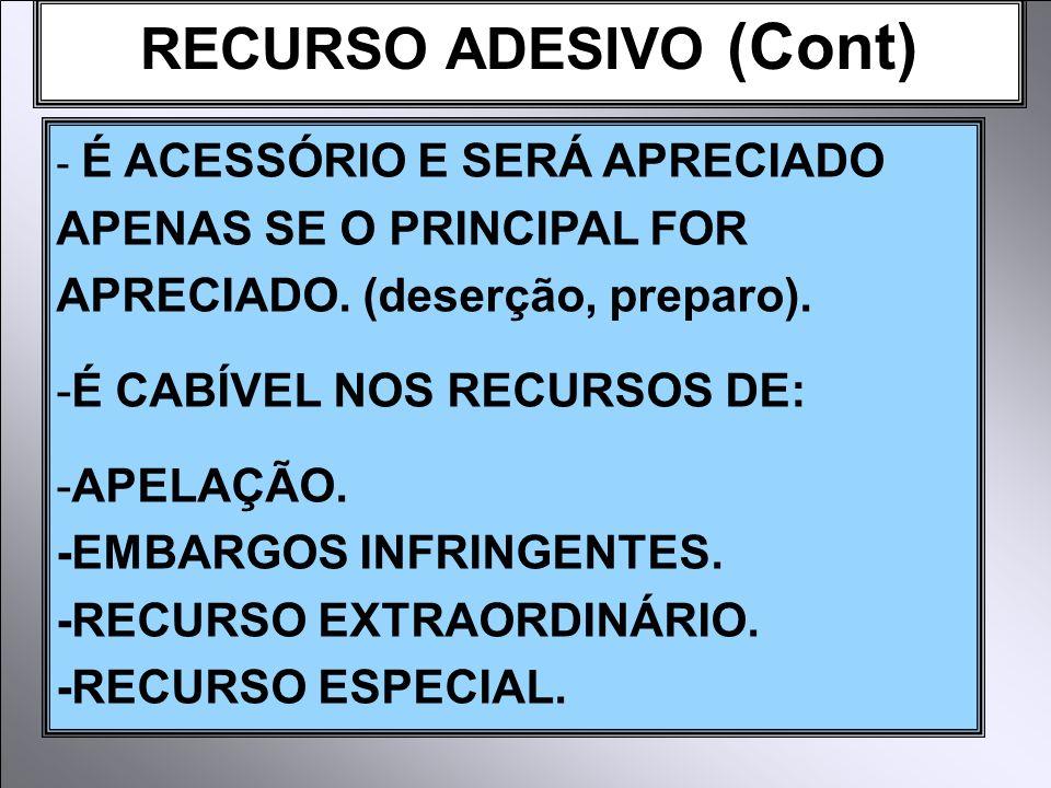 RECURSO ADESIVO (Cont)