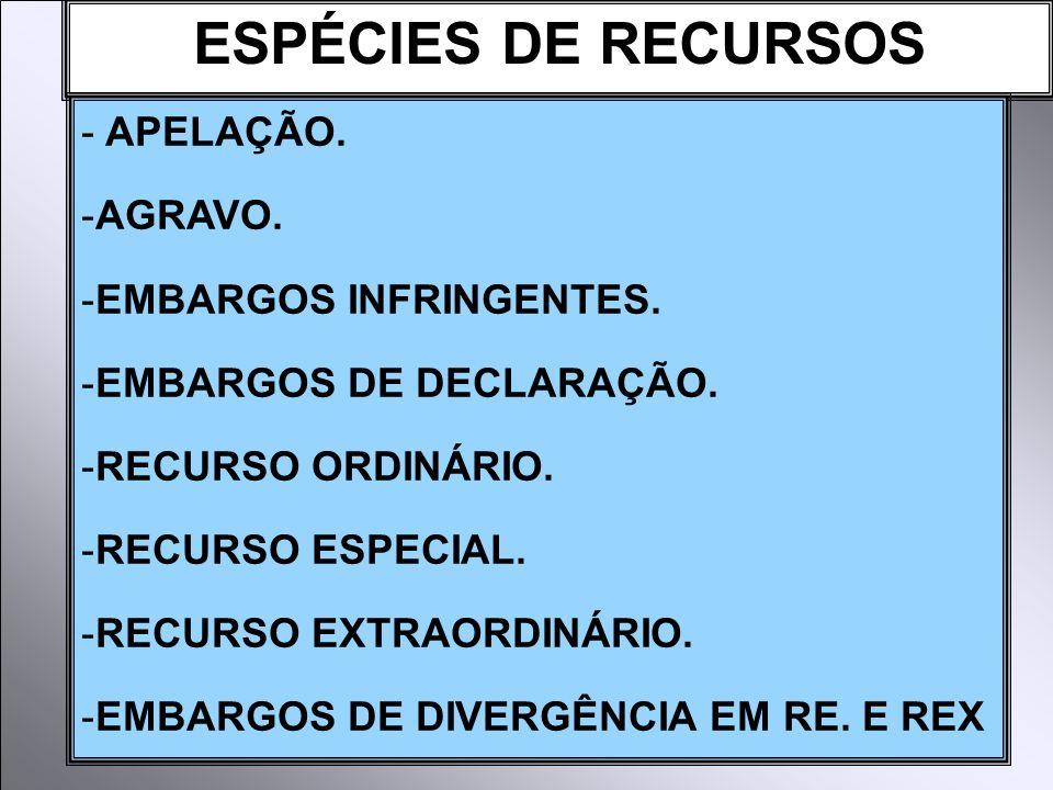 ESPÉCIES DE RECURSOS APELAÇÃO. AGRAVO. EMBARGOS INFRINGENTES.