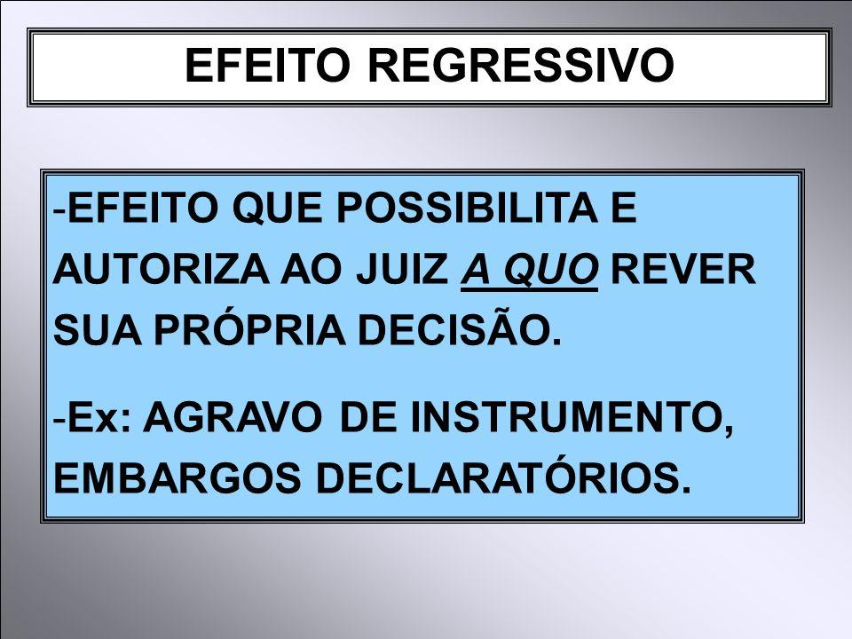 EFEITO REGRESSIVO EFEITO QUE POSSIBILITA E AUTORIZA AO JUIZ A QUO REVER SUA PRÓPRIA DECISÃO.