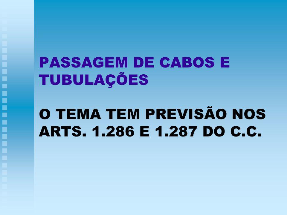 PASSAGEM DE CABOS E TUBULAÇÕES O TEMA TEM PREVISÃO NOS ARTS. 1.286 E 1.287 DO C.C.