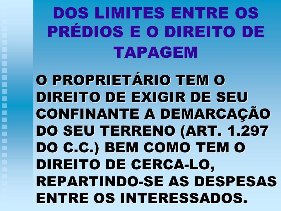 DOS LIMITES ENTRE OS PRÉDIOS E O DIREITO DE TAPAGEM