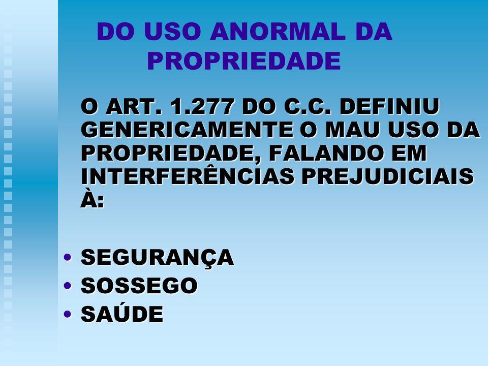 DO USO ANORMAL DA PROPRIEDADE