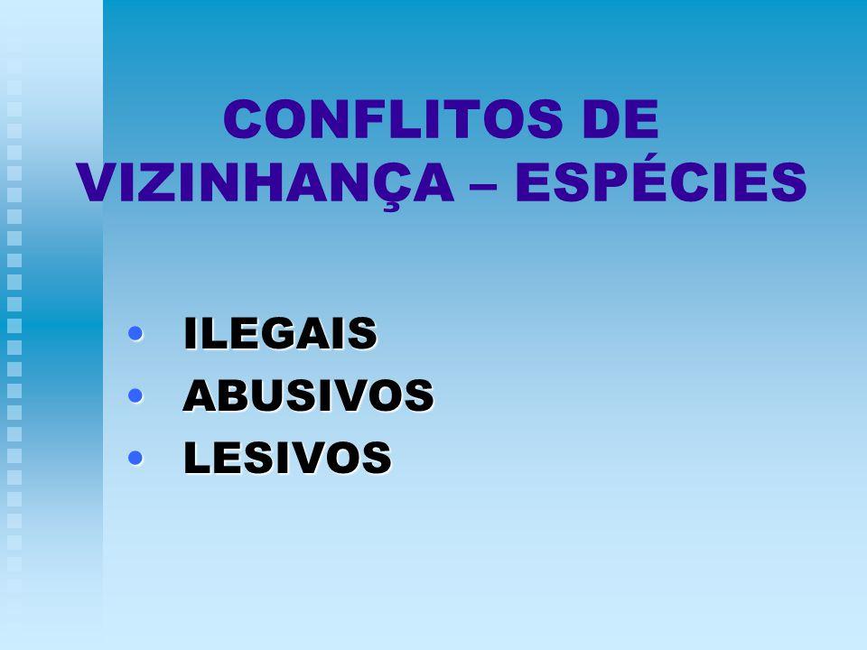 CONFLITOS DE VIZINHANÇA – ESPÉCIES